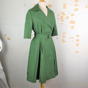 AKRIS PUNTO Green A-Line Button Front Shirt Dress
